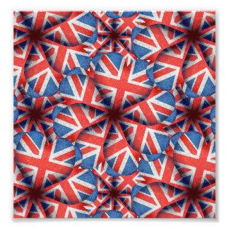 Hjärtformade design för England flaggamönster Fototryck