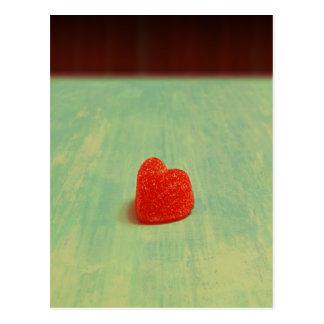 Hjärtformade gelékaramell vykort
