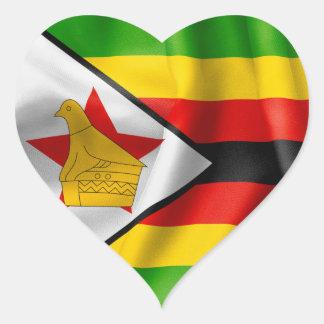Hjärtformade klistermärke för Zimbabwe flagga