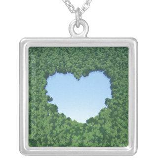 Hjärtformade sjö silverpläterat halsband