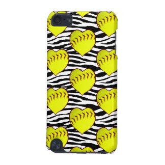 Hjärtformade softball på zebra mönstrad iPod touch 5G fodral