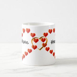 Hjärtor entwined med guld- musikbandhjärta & dina kaffemugg