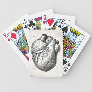 Hjärtor för anatomi för vintage1800shjärta Retro Spelkort