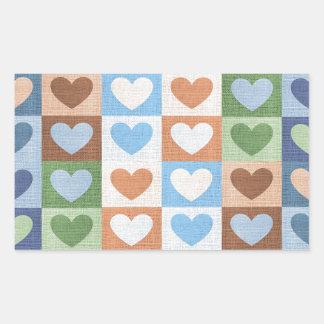 Hjärtor för blåttrosa- och gröntkärlek på tyg rektangulärt klistermärke