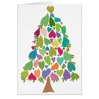 Hjärtor för julgranregnbågekärlek hälsningskort