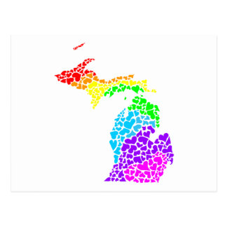 hjärtor för michigan prideregnbåge vykort