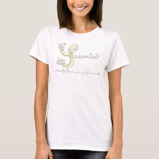 Hjärtor för monogram för Yasmin flickanamn menande T-shirts