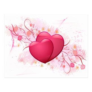 Hjärtor och blommor vykort