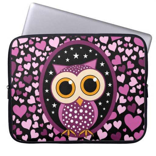 hjärtor och rosa uggla laptopskydd fodral
