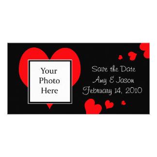 Hjärtor sparar kortet för daterabröllopfotoet fotokort