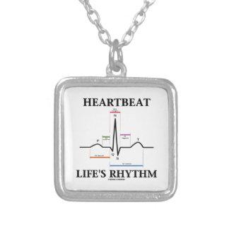 Hjärtslagliv rytm (ECG/EKG) Silverpläterat Halsband