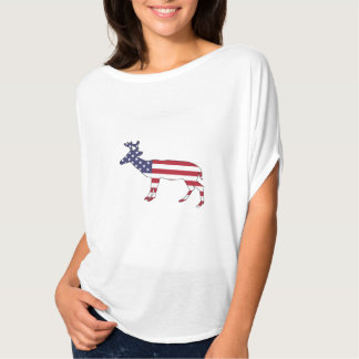 "Hjort ""amerikanska flaggan "", tee shirt"