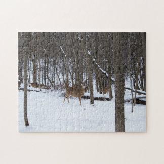 Hjort i fotopussel för skogen 11x14 med gåvan jigsaw puzzle