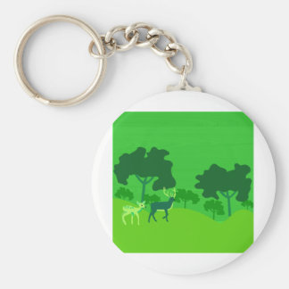Hjort i skog rund nyckelring