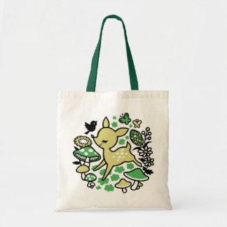 Hjort i skogen - grönt tygkasse