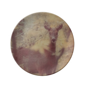 Hjort i skogen porslinstallrik