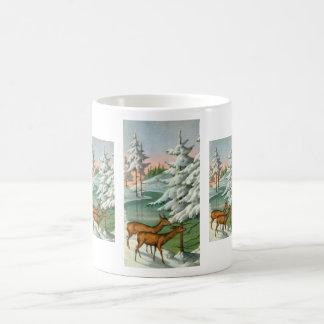 Hjort i vinter kaffemugg