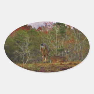Hjort med en rosa blå himmel ovalt klistermärke