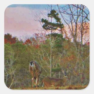Hjort med en rosa blå himmel fyrkantigt klistermärke