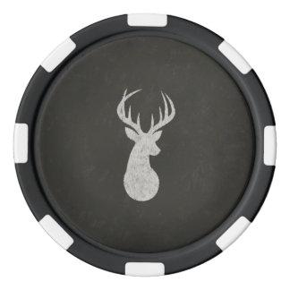 Hjort med horn på kronhjortkritateckningen set av tokens