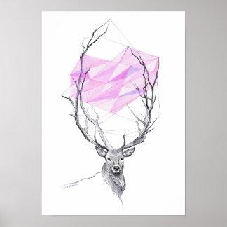 Hjort och rosa geometrisk hjärtateckningaffisch poster