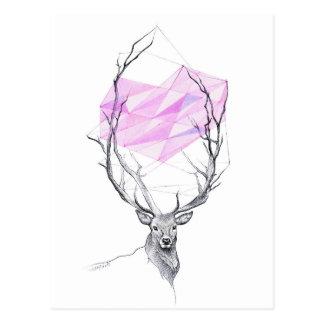 Hjort och rosa geometrisk hjärtateckningvykort vykort