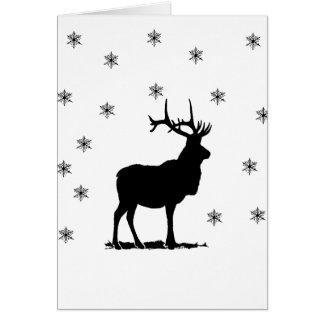 Hjort och snöflingor hälsningskort