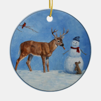 Hjort & rolig snögubbejul rund julgransprydnad i keramik