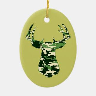 Hjort som jagar den Camo bocken Julgransprydnad Keramik