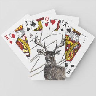Hjort som leker kort kortlek