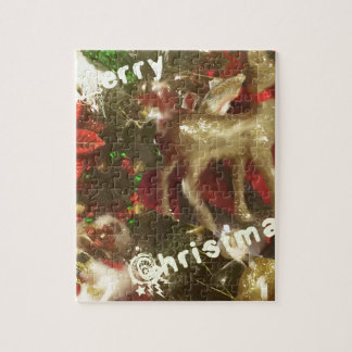 Hjort som prydnad i julgranen foto pussel