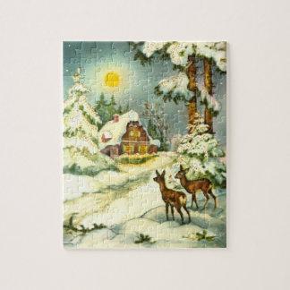 Hjort två i snön jigsaw puzzles