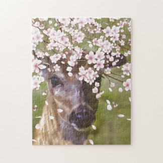 Hjort under det körsbärsröda träd jigsaw puzzles