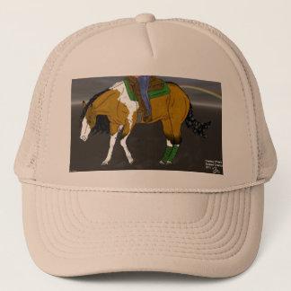 Hjortläder som tyglar hästen keps