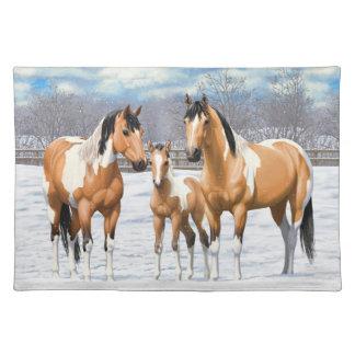Hjortläderen målar hästar i snö bordstablett
