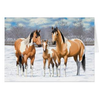Hjortläderen målar hästar i snö hälsningskort