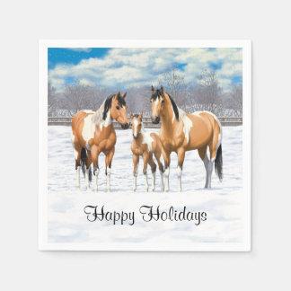 Hjortläderen målar hästar i snö papper servett
