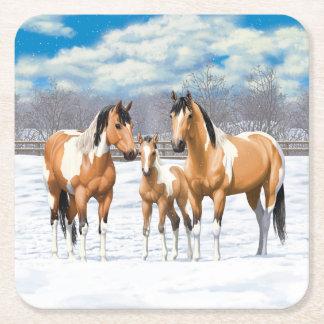 Hjortläderen målar hästar i snö underlägg papper kvadrat