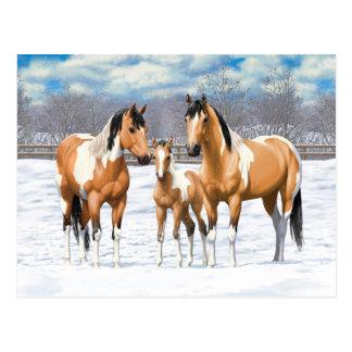 Hjortläderen målar hästar i snö vykort