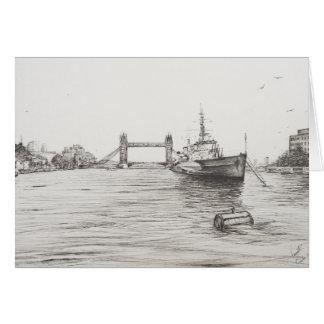 HMS Belfast på floden Thames London.2006 Hälsningskort