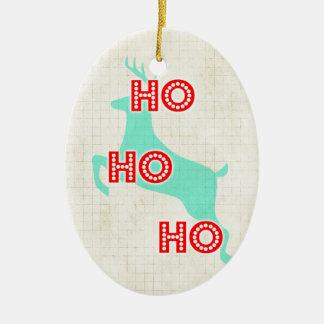 ho ho ho för blåttjul för ren röd vintage ovalformad julgransprydnad i keramik
