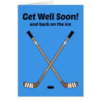 Hockey får för hockeypinnar för brunn snart hälsningskort