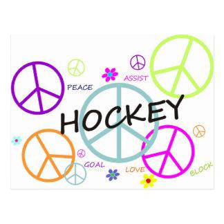 Hockey färgad fredssymboler vykort