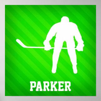 Hockey; Neongröntrandar Poster