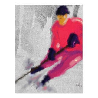 Hockey skjuter görar poäng han och konst vykort