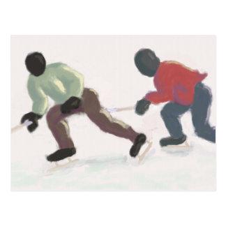 Hockey som snubblar, vykort