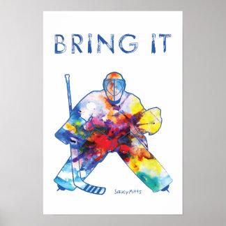 HockeyGoalievattenfärg Poster