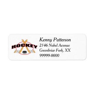 Hockeypinnar och Puck 4 fodrar Returadress Etikett