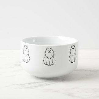 Höglands- veckkatttecknad stor kopp för soppa
