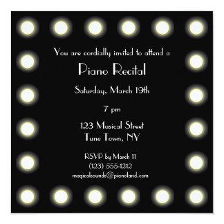 Högläsning för svart- & vitHollywood unisex- piano Fyrkantigt 13,3 Cm Inbjudningskort